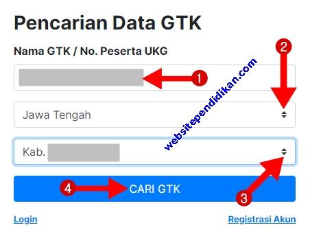 "Ketikkan Nama Lengkap Anda, Pilih Nama Provinsi, Pilih Nama Kabupaten/Kota, dan Klik ""Cari GTK"""
