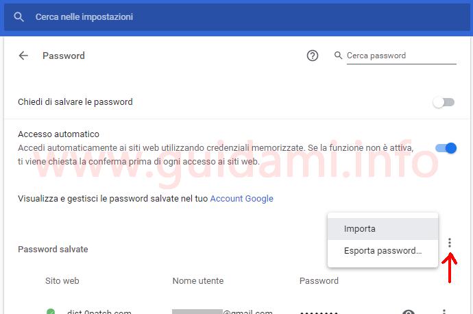 Pagina password salvate Chrome con attivata la funzione Importa password