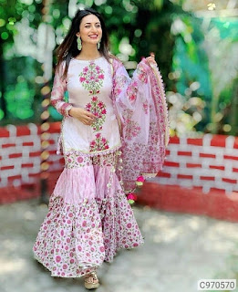 Latest Cotton Slub Solid With Printed Sharara Sets