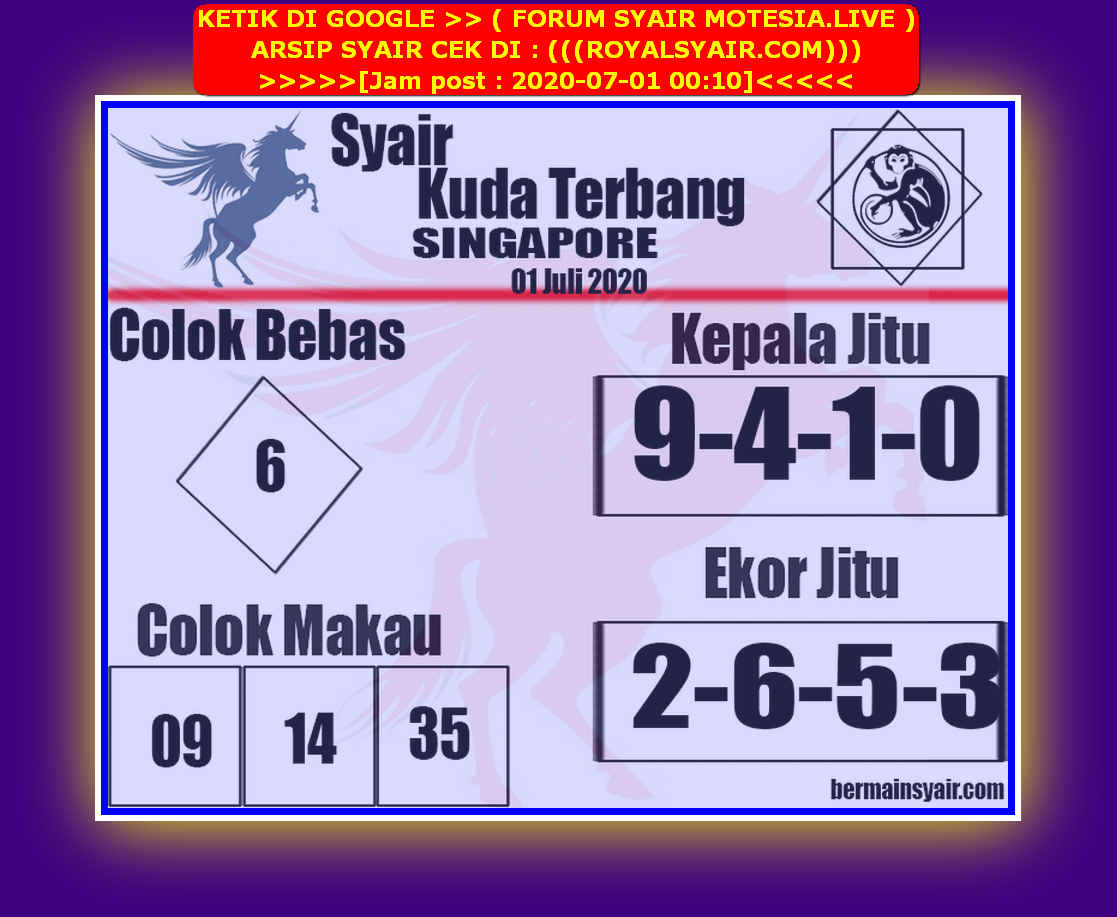 Kode syair Singapore Rabu 1 Juli 2020 206