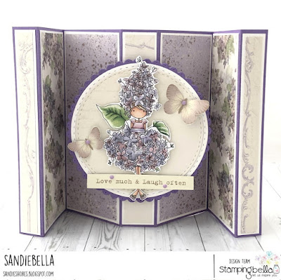 www.stampingbella.com: rubber stamp used: TINY TOWNIE GARDEN GIRL LILAC card by Sandie Dunne