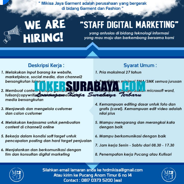 Open Recruitment At Mikisa Jaya Garment Surabaya September 2020 Lowongan Kerja Surabaya Januari 2021 Lowongan Kerja Jawa Timur Terbaru