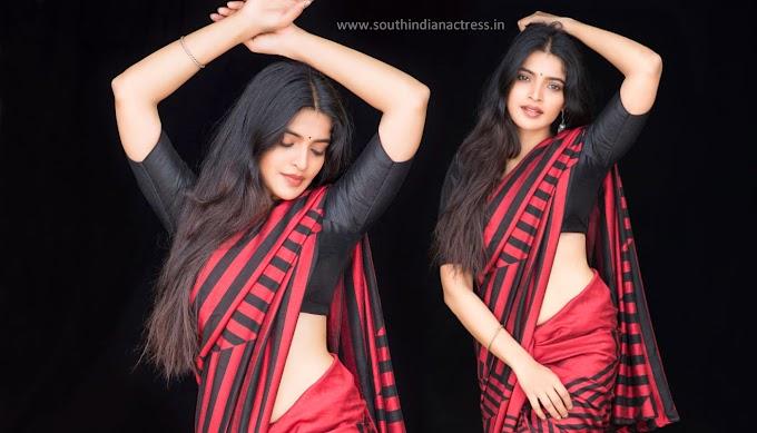Actress Sanchita Shetty shows her hot curves in saree photos