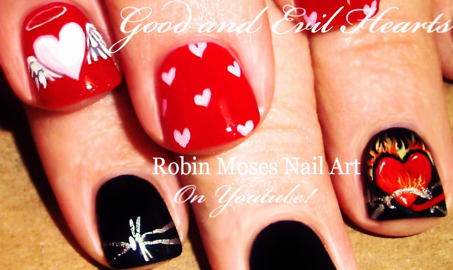 Nail Art By Robin Moses Easy Valentine Nails Cute Rainbow Candy
