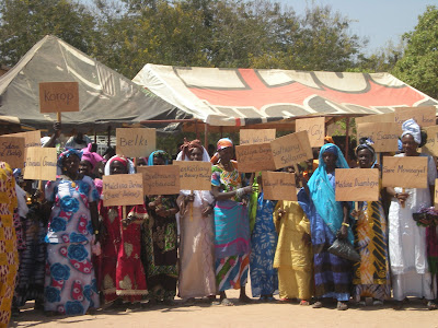 While the declaration text was being read in three languages, French, Soninke, and Pulaar, representatives from each of the 128 declaring villages stood in a group, holding up signs with their village names. Photograph by Meagan Byrne, Tostan.