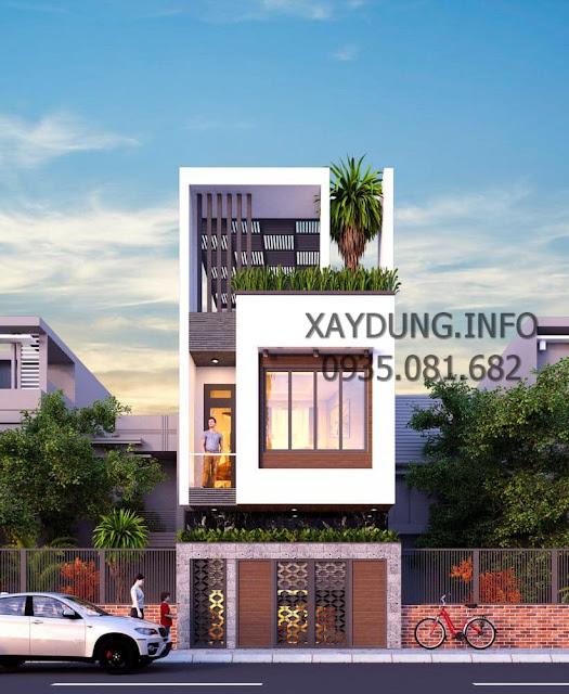mẫu nhà phố đẹp 3 tầng phong cách hiện đại