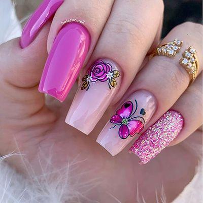 unhas decoradas rosa 9