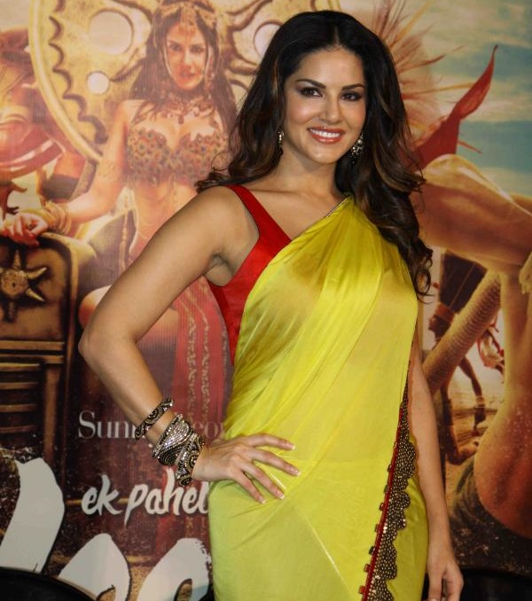 Sunny Leone Long Hair In Transparent Yellow Saree and Red Blouse