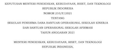 Daftar Sekolah Penerima DanaBantuan Operasional Sekolah Kinerja dan Bantuan Operasional Sekolah AfirmasiTahun Anggaran 2021