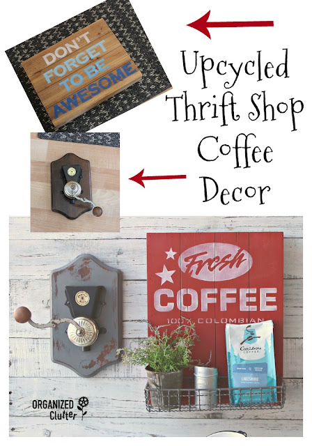 Thrifted Finds Upcycled As Coffee Themed Decor #oldsignstencils #stencil #coffeedecor #thriftshopmakeover #dixiebellepaint #signs
