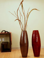 Red and brown plywood painted floor vases