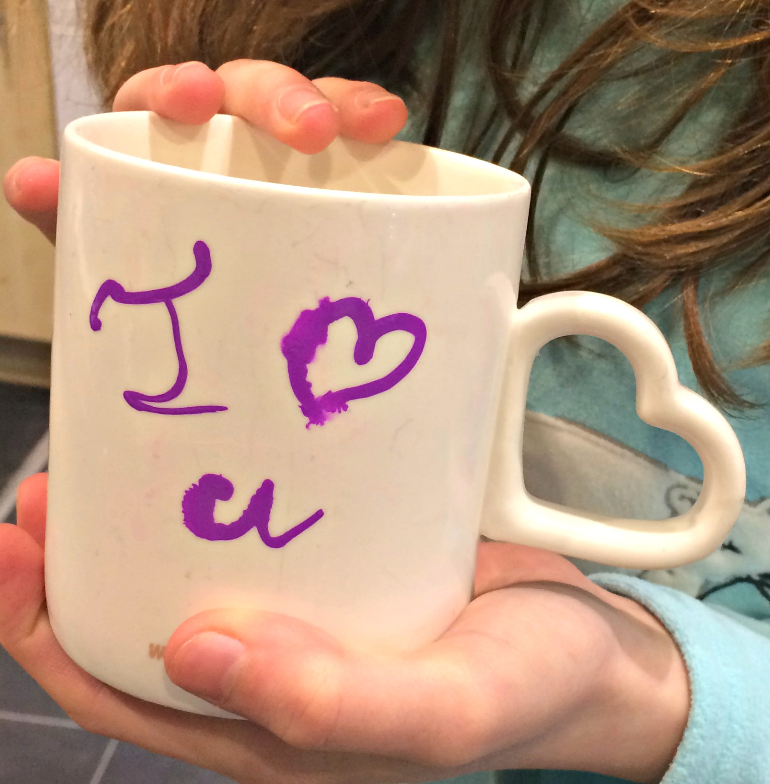 Mug inscribed with I Love U with a Chalkola Marker