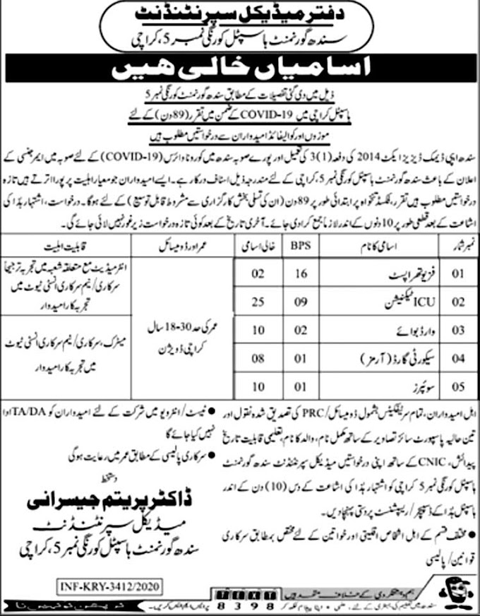 JOBS | Medical Supretendant Sindh Government Hospital Karachi