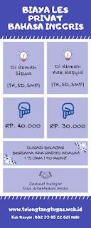 Tabel biaya les privat Bahasa Inggris