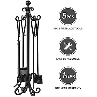 5 Pieces Scroll Fireplace Tools Set Black Cast Iron Fire Place