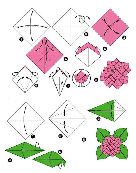 Cara Membuat Origami Bunga dan Daun | Welcome to My Blog