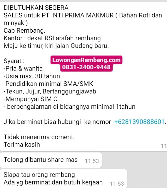 Lowongan Kerja Sales PT Inti Prima Makmur Rembang