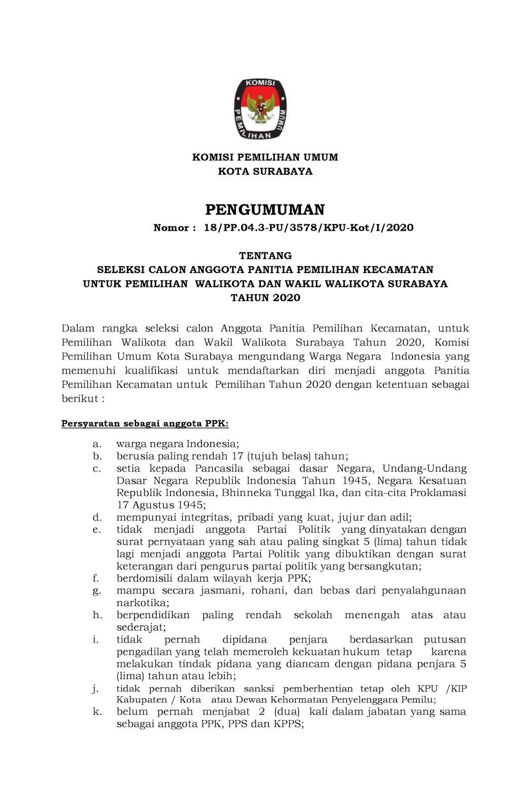 Rekrutmen Non PNS PPK Komisi Pemilihan Umum Kota Surabaya Minimal SMA Tahun 2020