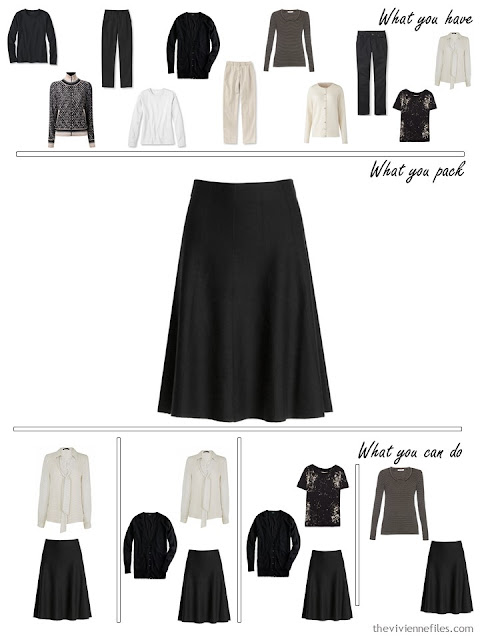 adding a black skirt to a black, white and beige travel capsule wardrobe