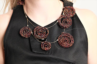 Spiral necklace, sculpture necklace, modern bohemian necklace