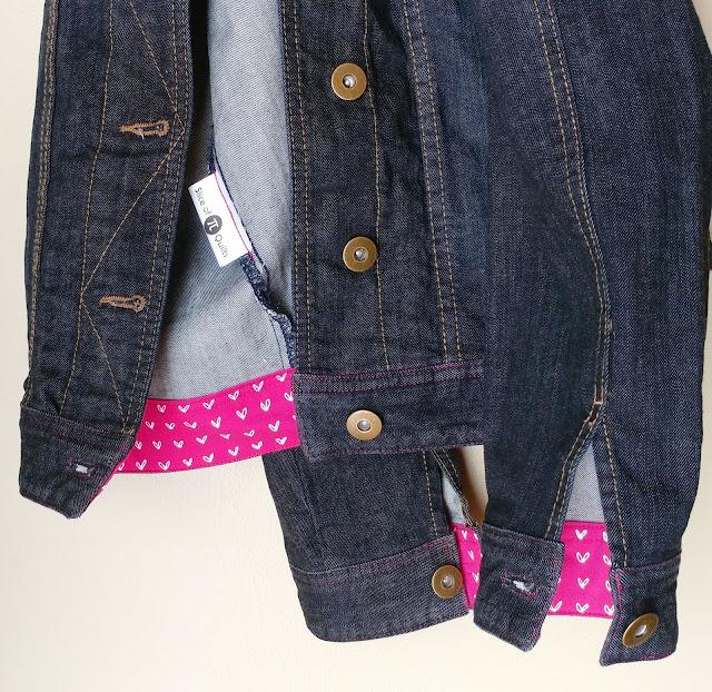 Custom label on upcycled denim jacket