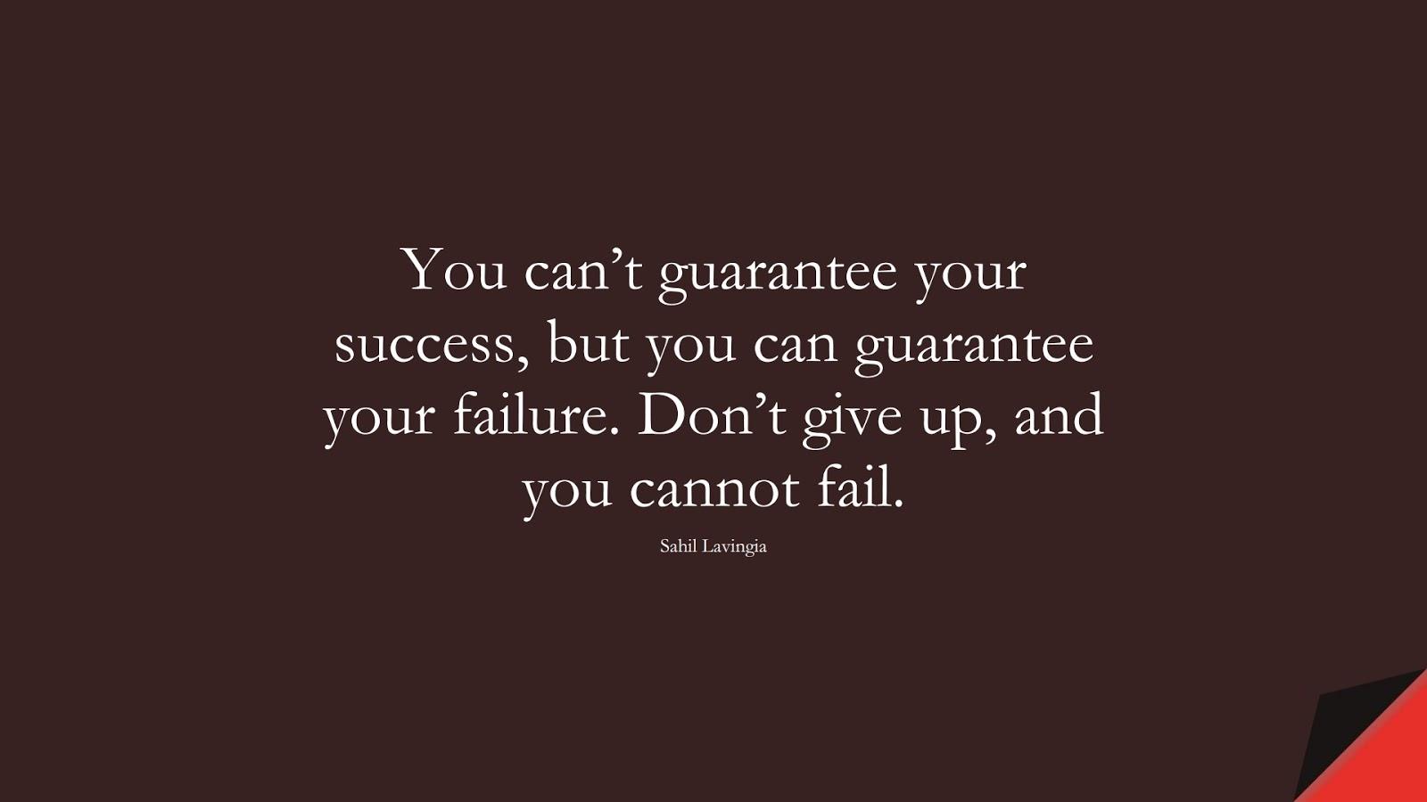 You can't guarantee your success, but you can guarantee your failure. Don't give up, and you cannot fail. (Sahil Lavingia);  #PerseveranceQuotes