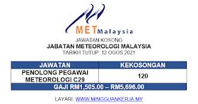 Jawatan Kosong Jabatan Meteorologi Malaysia ~ Gaji RM1,505 - RM5,696 ~ 120 Kekosongan Ditawarkan