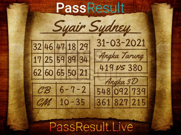 Prediksi Syair - Rabu, 31 Maret 2021 - Prediksi Togel Sydney
