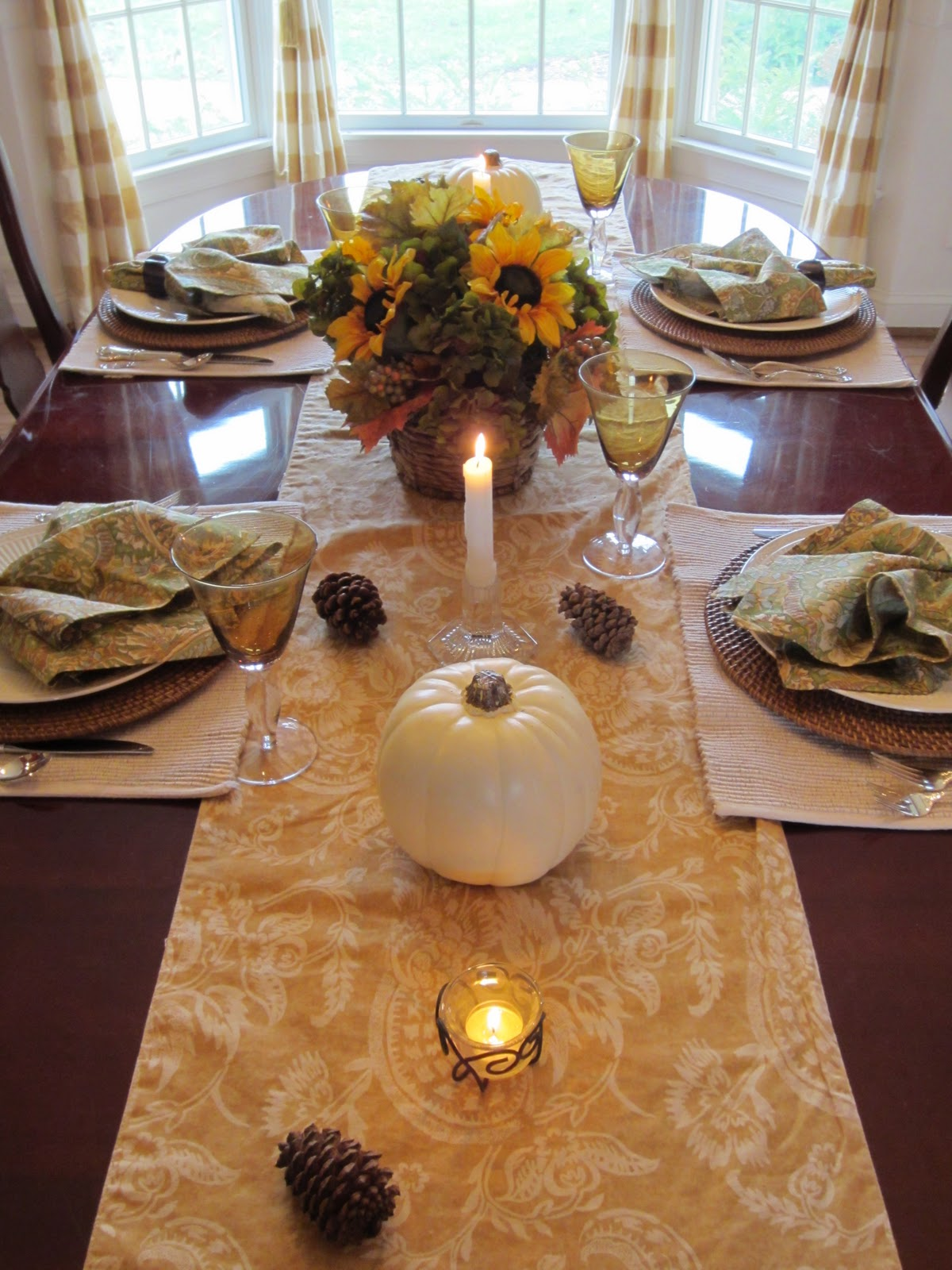 Thanksgiving Table with golden damask runner