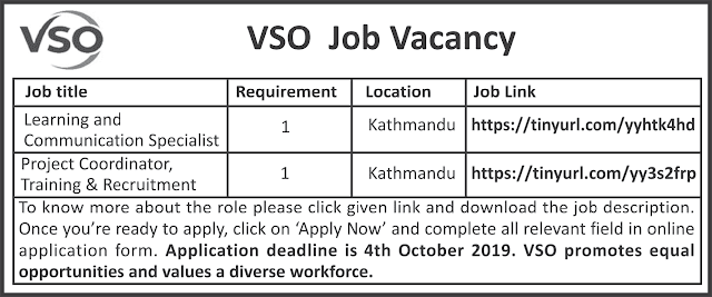 VSO Nepal Job Vacancy Notice