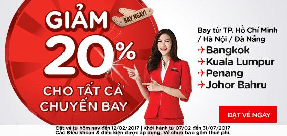 Khuyến mãi Air Asia giảm 20% giá vé tất cả các hành trình bay