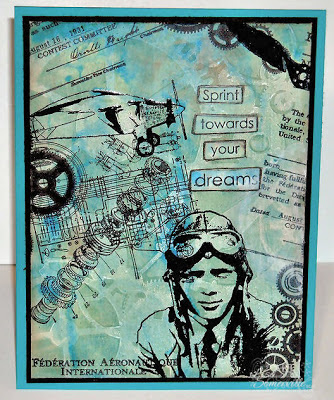 Mixed Media Card, all Stamps - Artistic Outpost.  BG created with Gelli Arts Plate and The Crafters Workshop Stencils