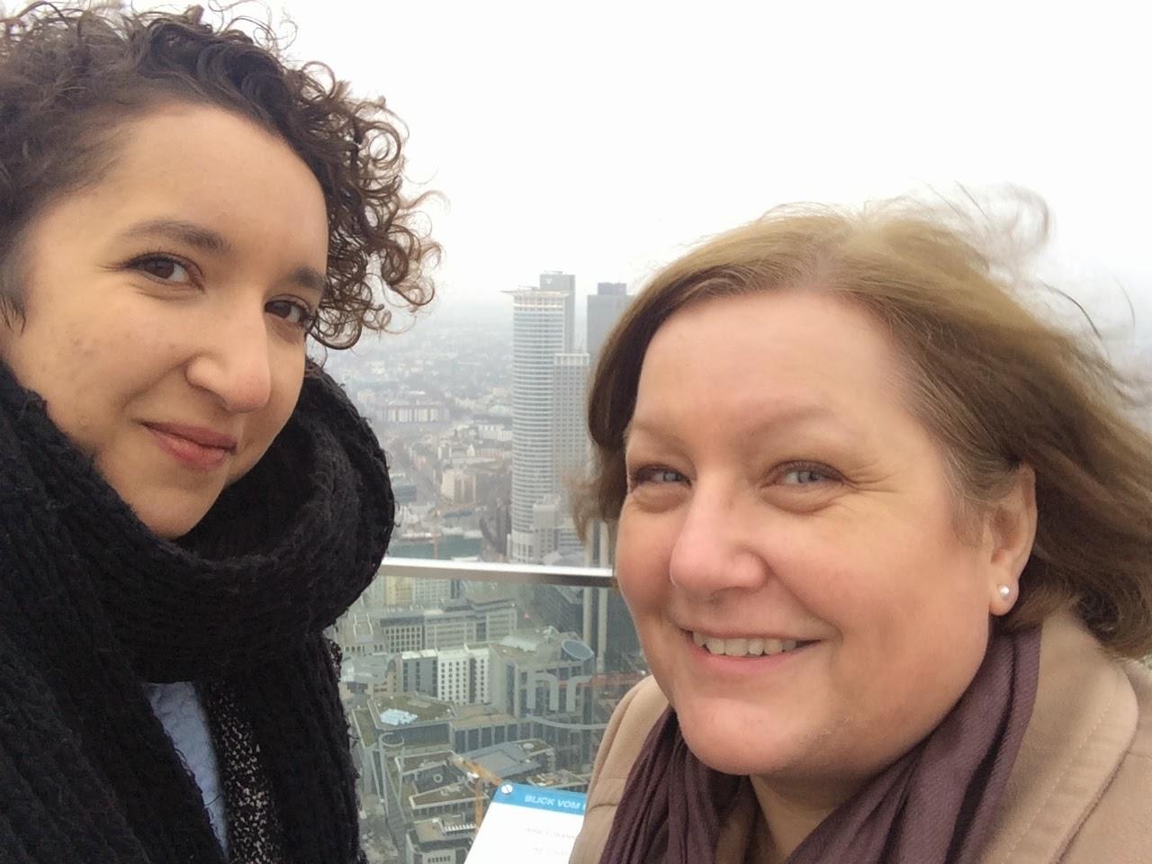 selfie at the top of frankfurt main tower