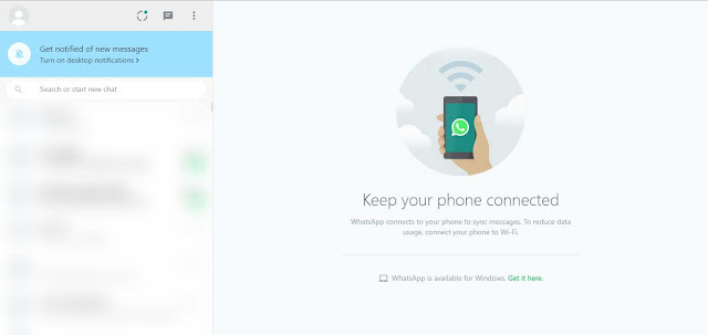Tampilan WhatsApp Web di PC
