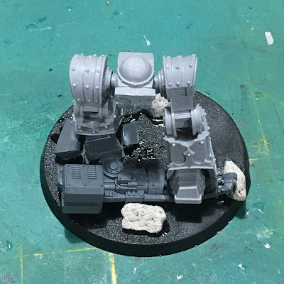 Dark Angels Legion Contemptor Dreadnought WIP - legs assembled