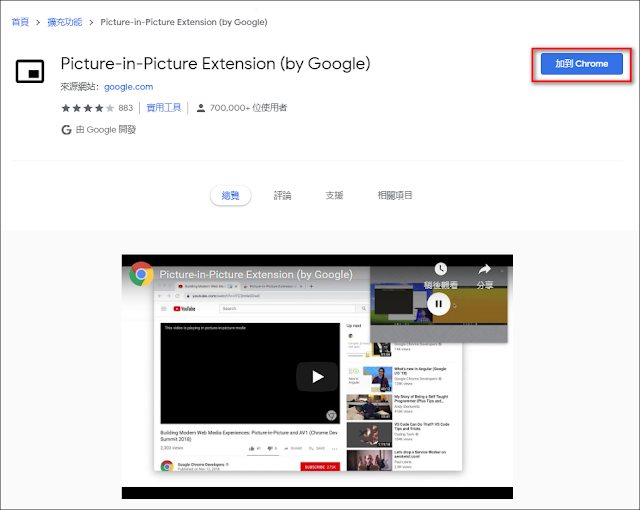 Picture-in-Picture Extension (by Google):訓練一心多用的影片觀看模式(Chrome / Edge 擴充功能)