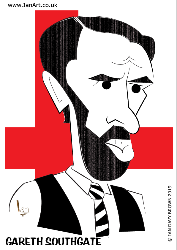 Gareth Southgate England Football Manager Caricature cartoon