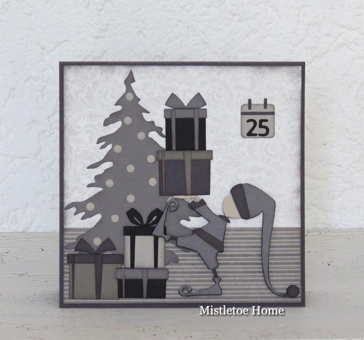 2019 White House Christmas Card.Mistletoe Home Black And White Christmas Card With An Elf