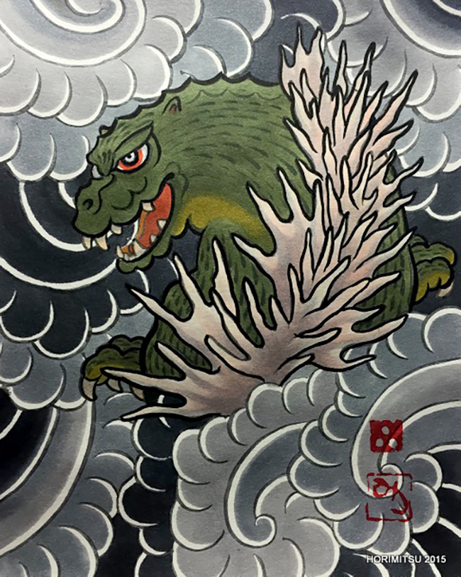 Horimitsu 成田宏光 (Japan) - Gojira tattoo