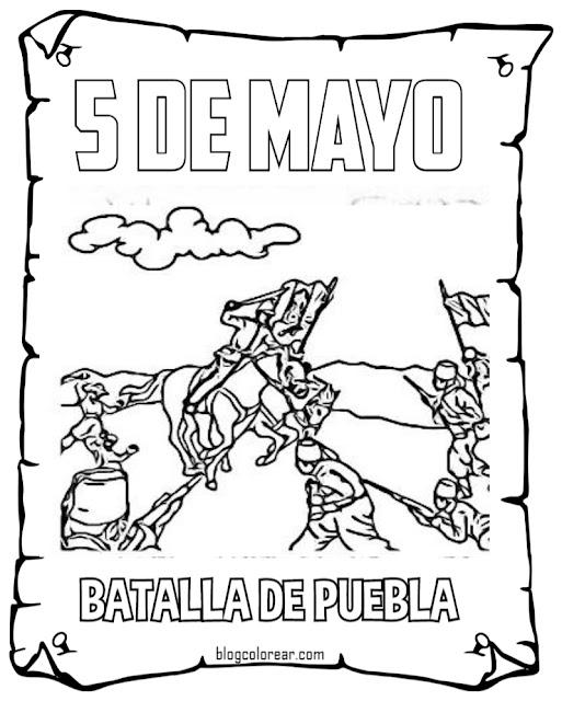 colorear batalla puebla 5 mayo