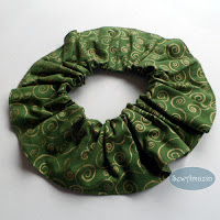 Christmas Dog Scrunchie Ruffle, Green Gold Swirls