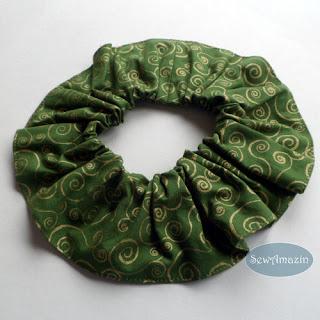 Christmas Dog Scrunchie Ruffle, Green Gold Swirls