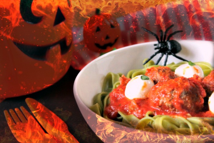 Ghoulish Eyeball Pasta With Blood Red Sauce