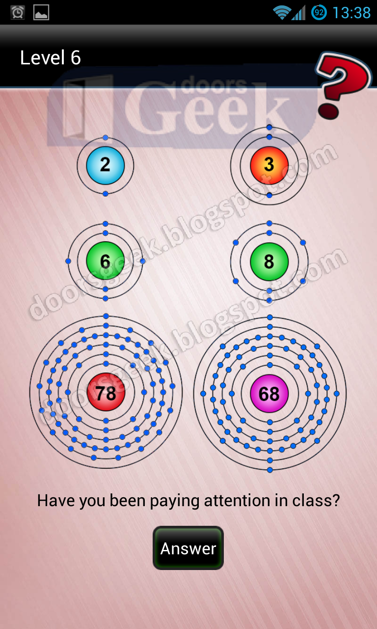 Riddle that season 2 level 6 doors geek the numbers inside the circles represent the atomic numbers of the elements inside periodic table urtaz Gallery