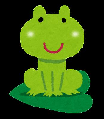 カエルのイラスト「葉っぱに乗った蛙」