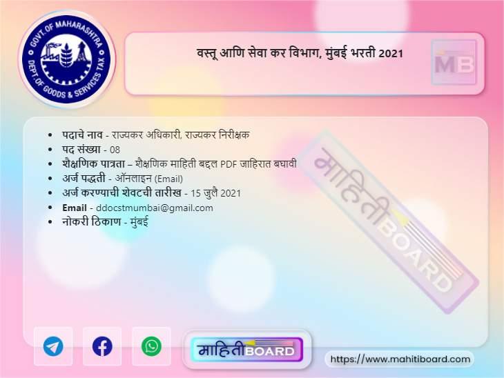 MahaGST Mumbai Bharti 2021