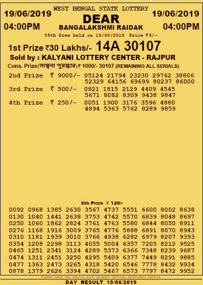 Dear Banga Lakshmi Raidak Lottery Results 19 June 2019 Wednesday Draw Winners