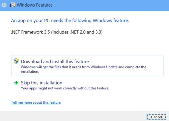 Mengatasi gagal instal framework 3.5 pada windows 8.1