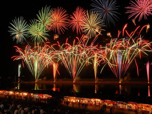 Kurume Matsuri (Fireworks Display), over Chikugogawa river, Kurume City, Fukuoka