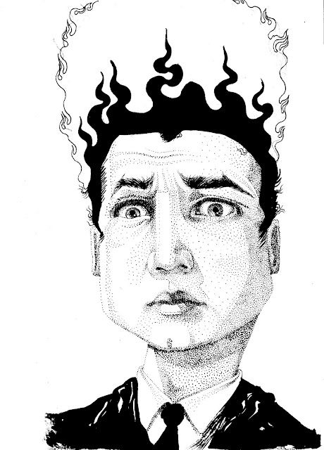 Eraserhead dotwork portrait david lynch